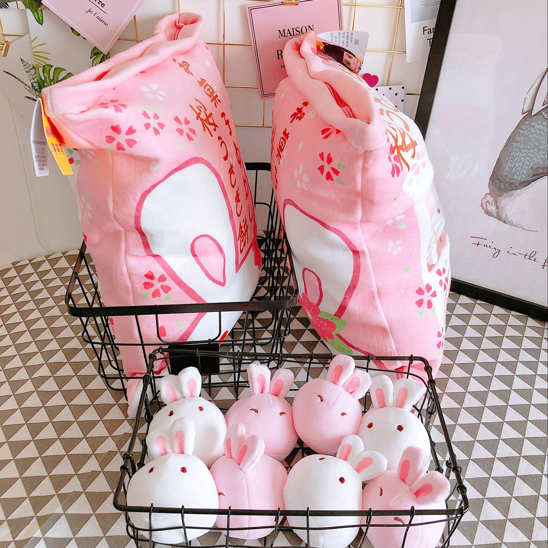 Nenalayo Cute Throw Pillow Stuffed Animal Toys Removable Fluffy Bunnies Creative Gifts for Teens Girls Kids by Nenalayo (Image #8)
