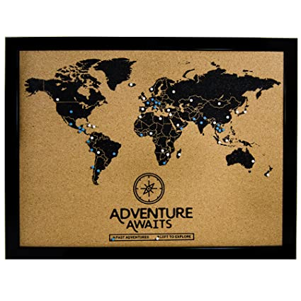 Amazon Com Cork Board World Travel Map With Pins Inspirational