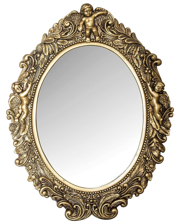 My Flair Ovaler Spiegel Mogallal, Barock mit Putten, Holz, Gold, 40x5x53
