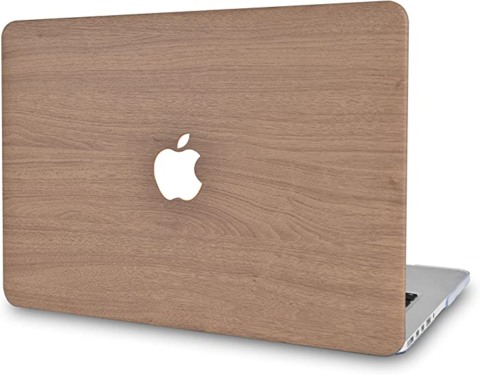"LuvCase Laptop Case for MacBook Pro 13"" (2020/19/18/17/16 Release) with/Without Touch Bar A2251/A2289/A2159/A1989/A1706/A1708 Leather Hard Shell Cover (Brown Wood)"