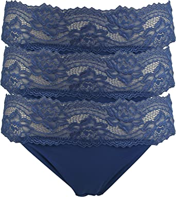 Ex Store 3 Pack Mesh and Lace High Leg Knickers