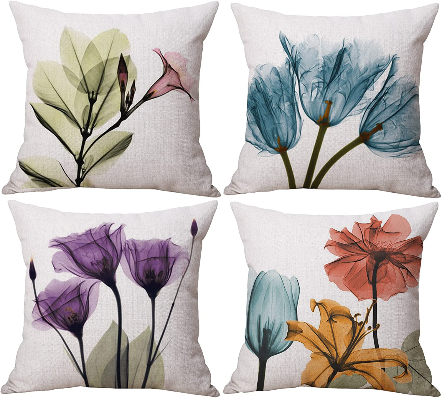 Amazon Com Geepro 18 X 18 Inch Painting Flower Throw Pillow Cover Set Decorative Floral Cushion Covers Set Of 4 Purple Home Kitchen