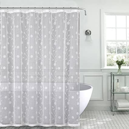 Royal Bath Metallic Daisy Embroidered Sheer Fabric Shower Curtain 70quot X 72quot