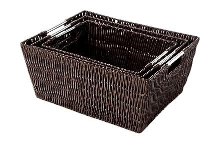 Attirant Juvale Storage Baskets   3 Piece Nesting Baskets, Brown Wicker Storage  Containers   Storage