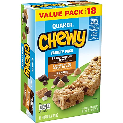 AmazonSmile: Quaker Chewy Granola Bars, Variety Value Pack, 18 Bars: Prime Pantry