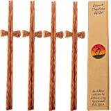 Coconut Wooden Reusable Chopsticks and Rests | Set of 4 Pairs of Handmade Wood Chopsticks | Coconut Bowls Utensils | Eco Friendly | Vegan Utensils