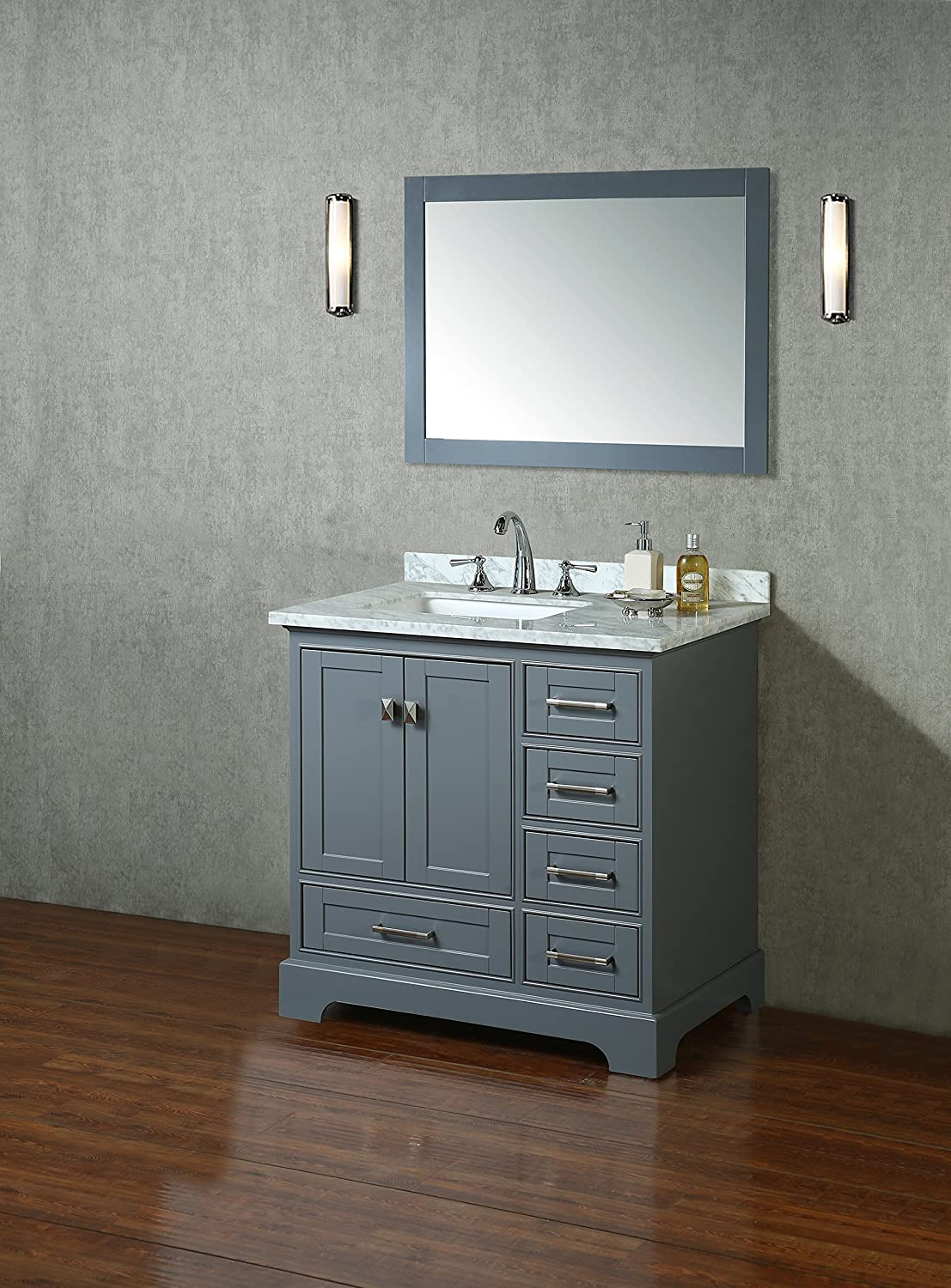 Stufurhome HD 7130G 36 CR Newport Single Sink Bathroom Vanity Set  Grey Amazon com