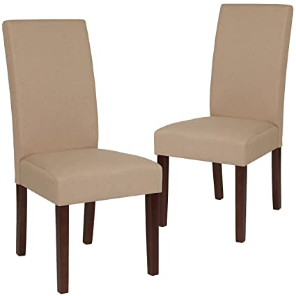 Amazing Flash Furniture 2 Qy A37 9061 Bge Gg Beige Fabric Parsons Dining Chairs 2 Pack Spiritservingveterans Wood Chair Design Ideas Spiritservingveteransorg