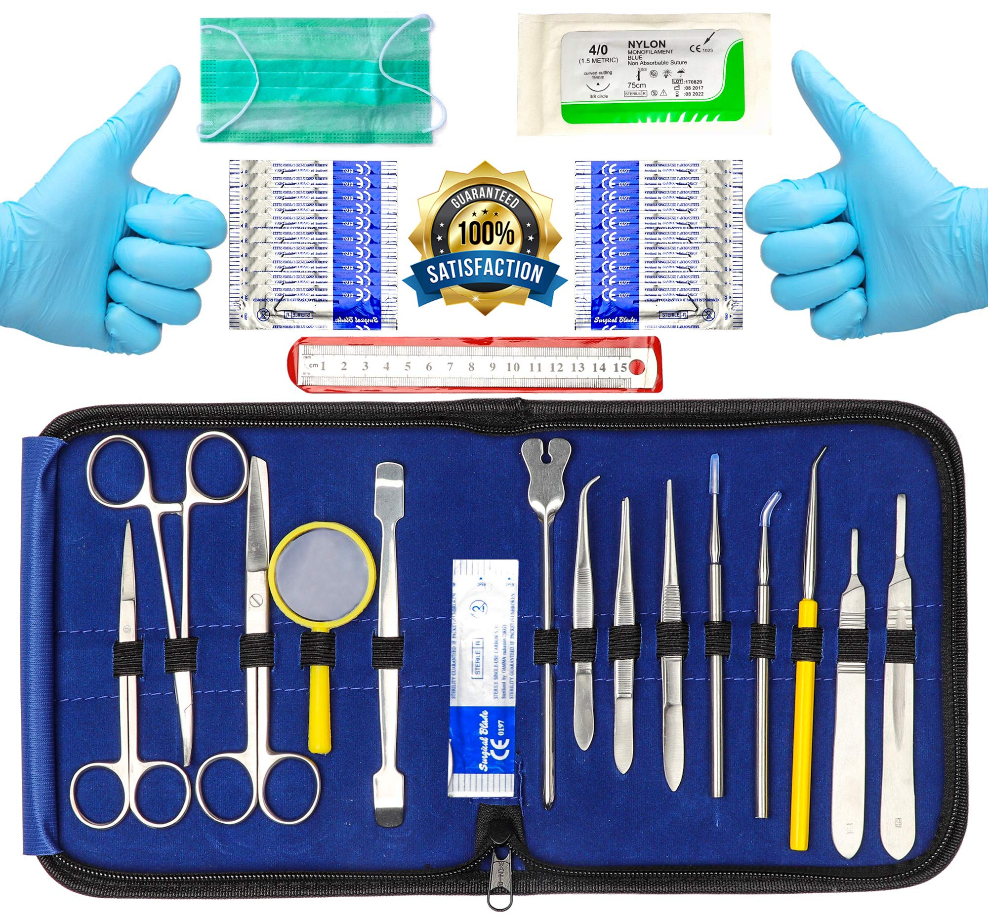 39 Pcs Advanced Dissection Kit - For Botany veterinary Medical Student Full Dissection Kit Set with Stainless Steel Instruments For Dissecting Frogs Perfect for Anatomy Biology Students.       by Pro Instruments