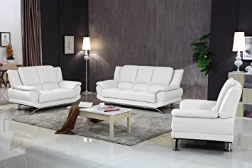 Matisse Milano Contemporary Leather Sofa Set (White)