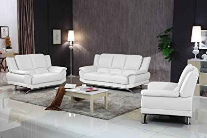 Amazon.com: Matisse Milano Contemporary Leather Sofa Set (White ...