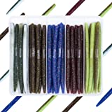"Bombrooster Rubber Worms Senkos 4"" 5"" Salt Impreatation Soft Plastic Lures Kit Bass Fishing"
