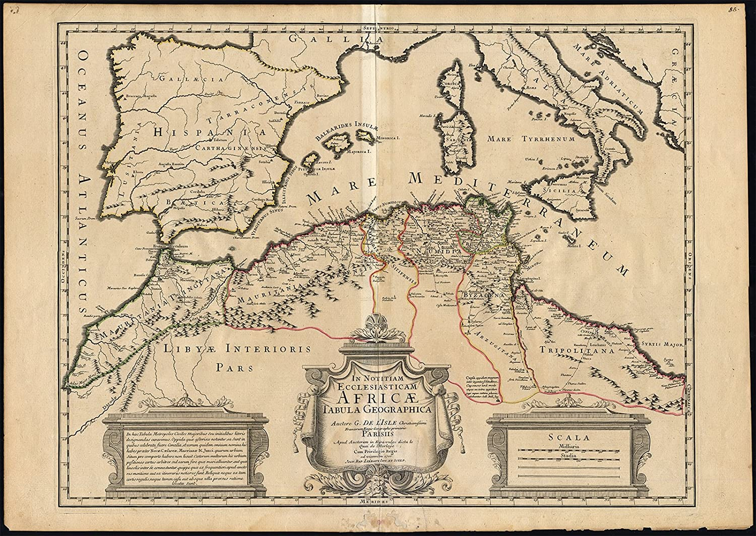 Map Of Spain North Africa.Amazon Com Antique Map North Africa Mediterranean Morocco Libya