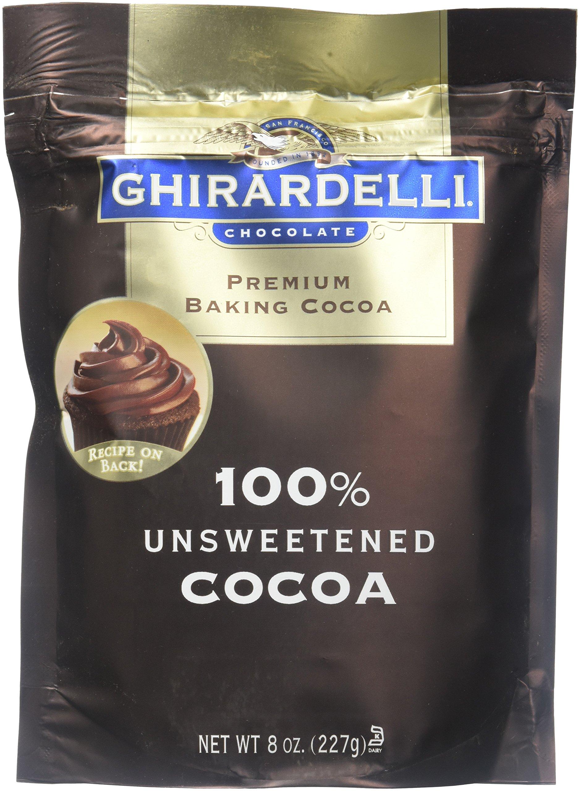 Ghirardelli 100 Percent Unsweetened Premium Baking Cocoa, 8 Ounce -- 6 per case.
