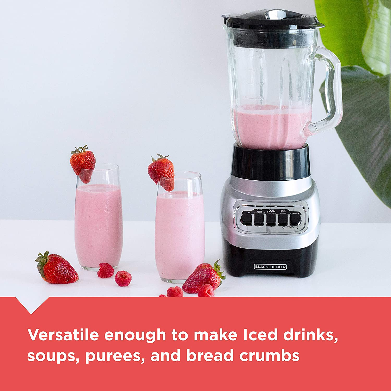 BLACK+DECKER Power Crush Multi-Function Blender with 6-Cup Glass Jar, 4 Speed Settings, Silver