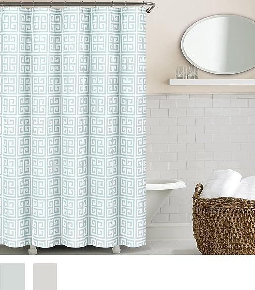 Amazon.com: Echelon Home Greek Key Shower Curtain, Spa Blue: Home ...