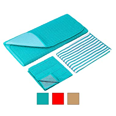 DecorRack Dish Drying Mat Set of Microfiber Draining Mat 15 x 20 inch, Microfiber Kitchen Towel and Scrubbing Cloth, Turquoise (Set of 3)