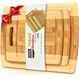 Utopia Kitchen 3 Piece Natural Organic Bamboo Cutting Boards with Juice Grooves - BPA Free - Eco-friendly - Bamboo…
