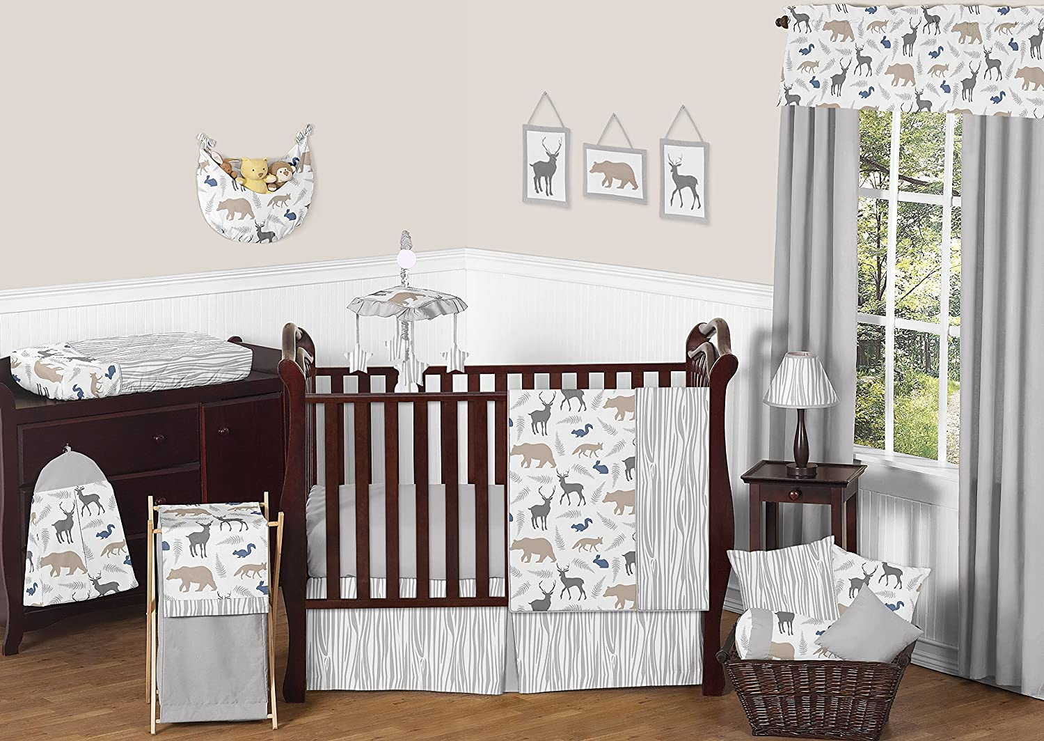 Well-known Amazon.com : Sweet Jojo Designs 11-Piece Blue Grey and White  FY55