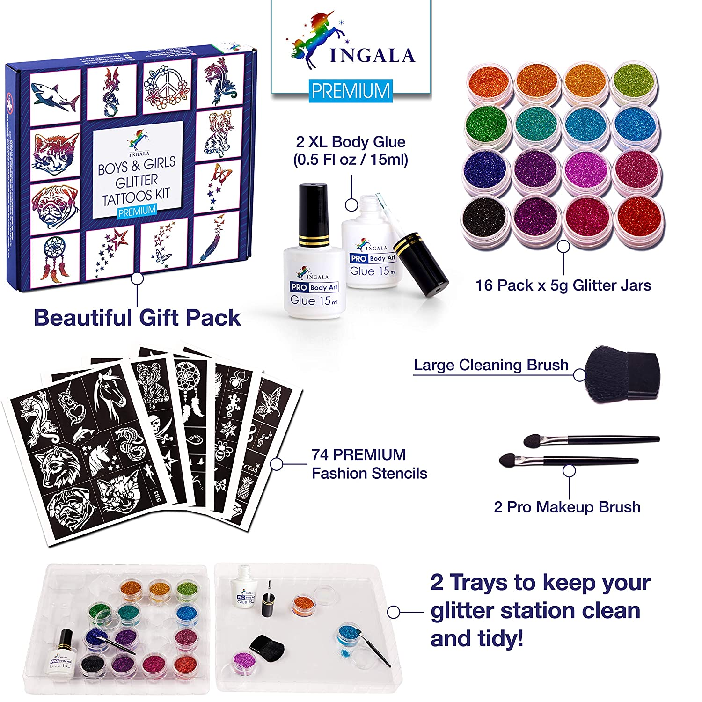 10 Stencils 24 Extra Fine Glitter Colors Loveliest Pro Body Art Stencils And Body Art Glue
