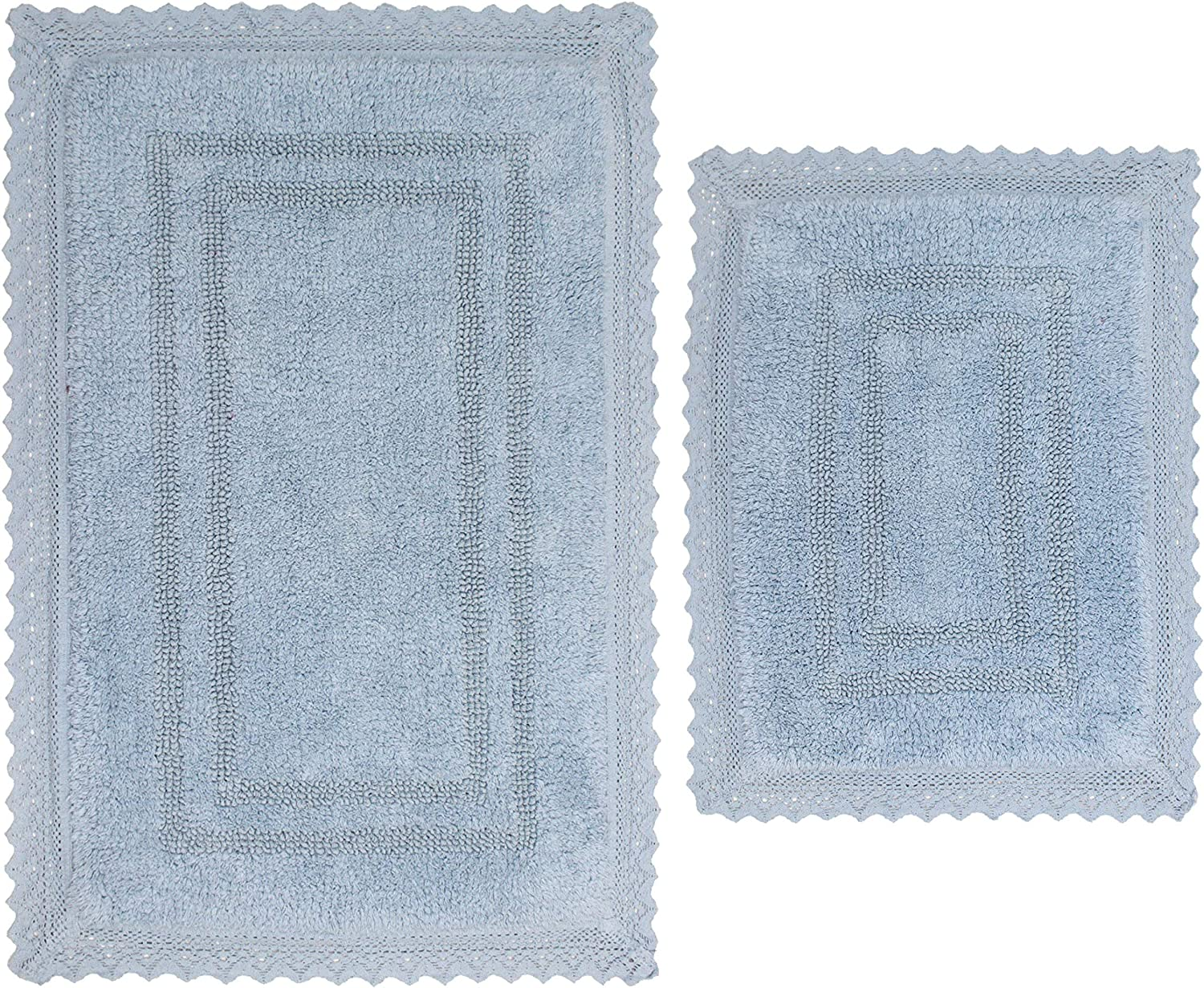 "Home Weavers Opulent Bathmat Collection Absorbent Cotton Soft Reversible 2 Piece Bath Rug Set, Machine Washable, 17""x24"", 21""x34"", Blue"