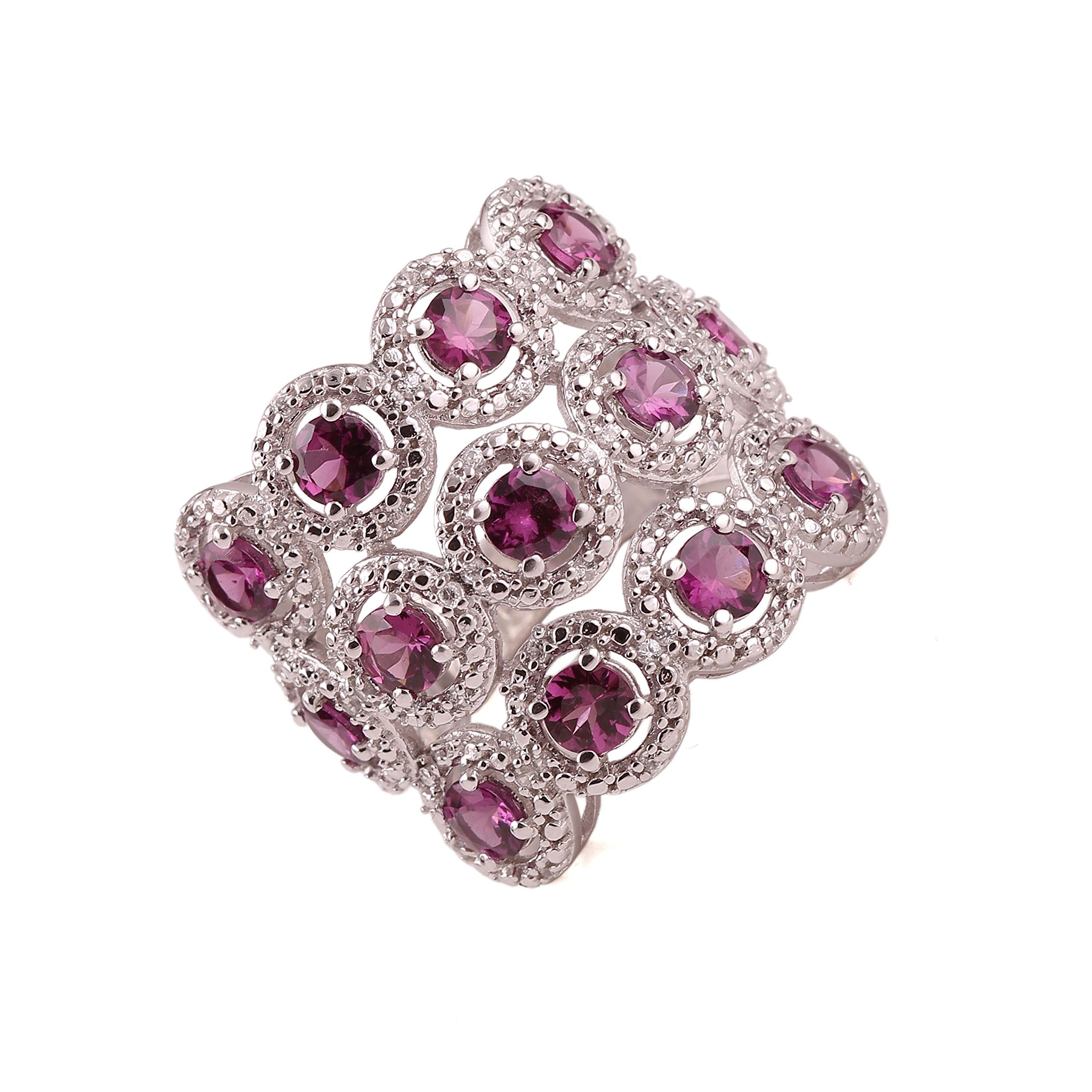 Neerupam collection 925 sterling silver natural pink tourmaline gemstone studded silver ring for women and girls