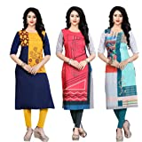 Navlik Women's Crepe Stitched Kurti Combo Pack of 3 (Multi-Coloured)
