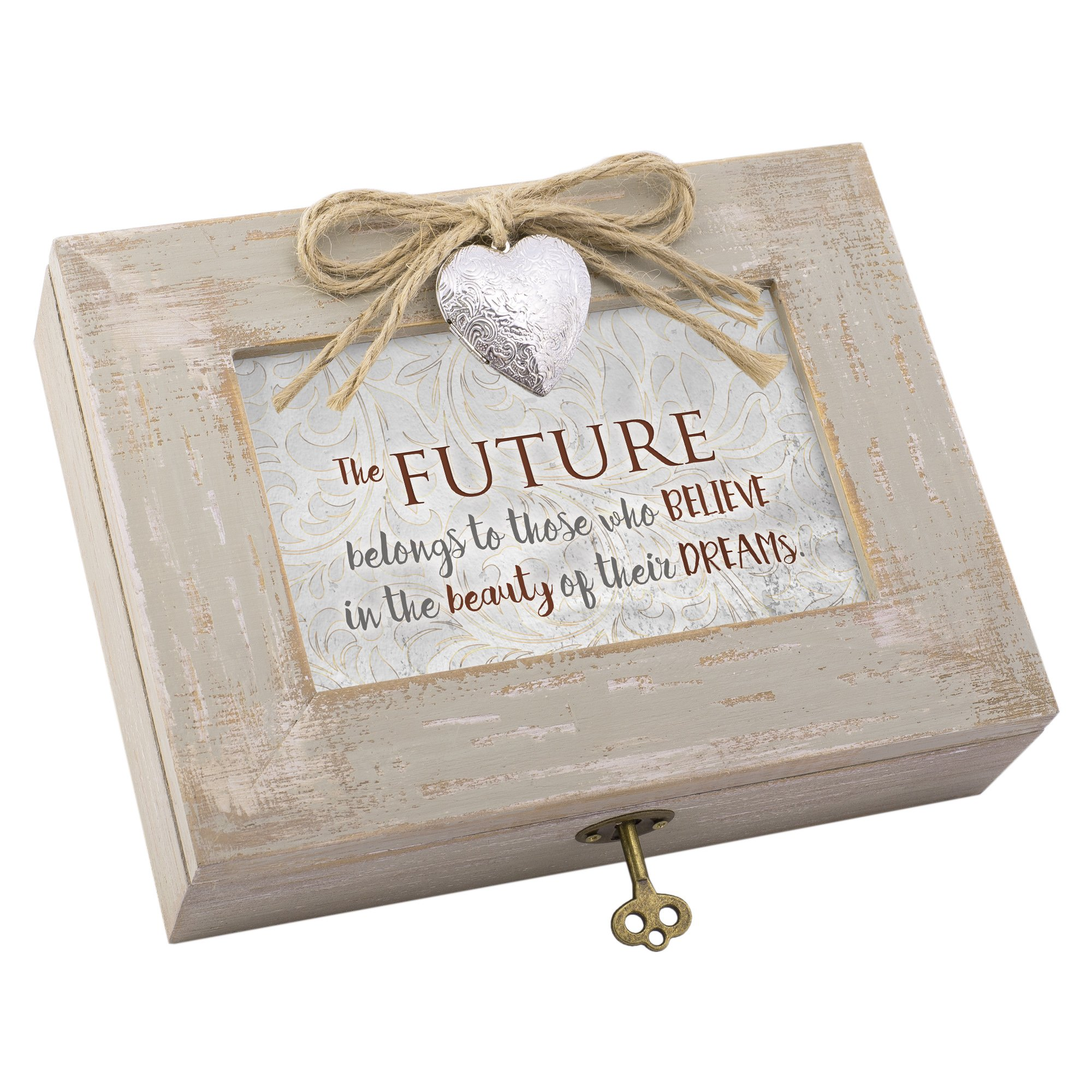Believe The Beauty of Dreams Distressed Wood Locket Jewelry Music Box Plays Tune Wonderful World