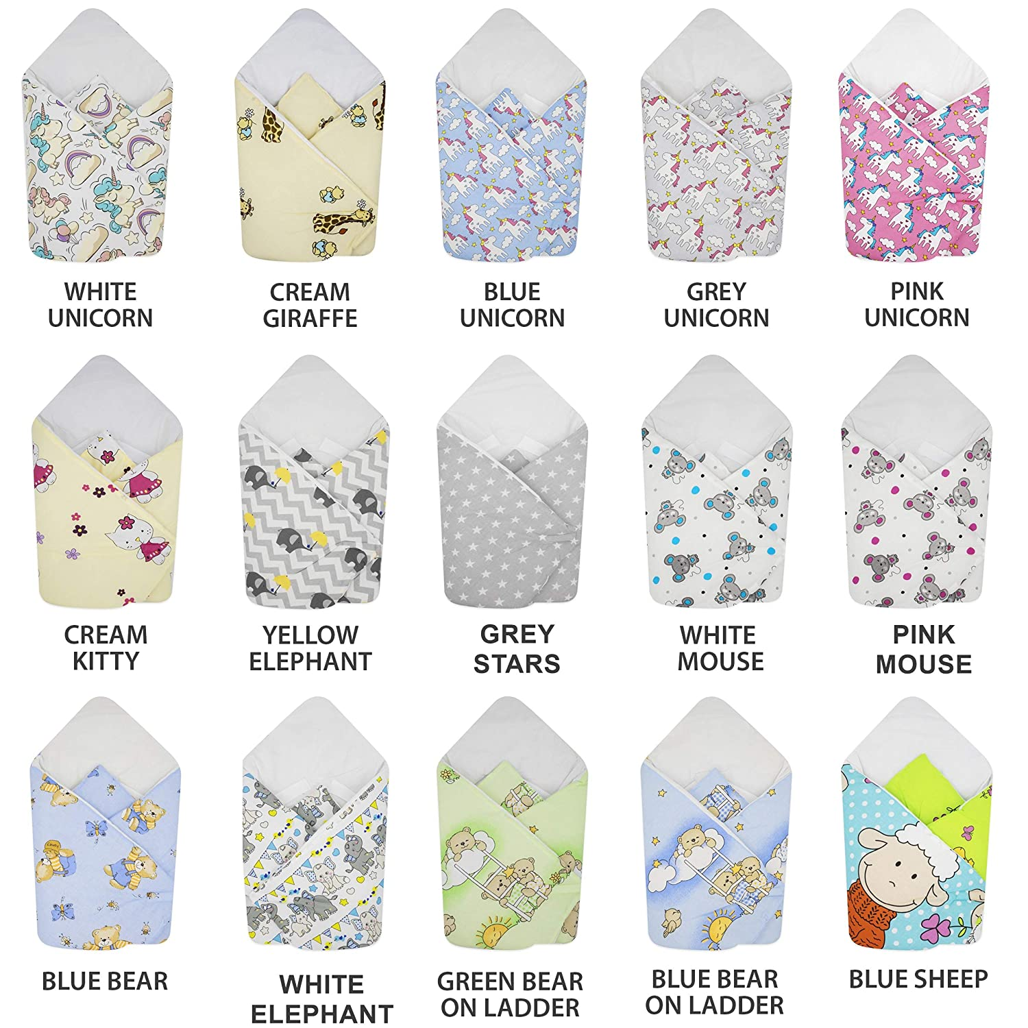 Intended for Kids Aged 0-3 Months BlueberryShop Cotton Baby Swaddle Wrap Car Seat Blanket 78 x 78 cm Perfect for Prams /& Cots Cream Safari Sleeping Bag for Newborns