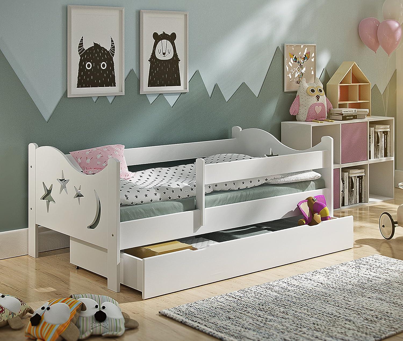160x80 KATIDO Kinderbett Massivholz Mond und Sterne Weiß 140x70 oder 160x80 Matratze Schublade Lattenrost (160x80)