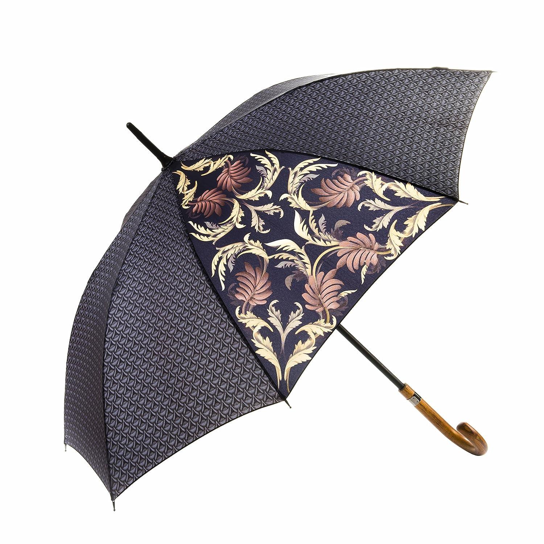 MARY SAM'S Designer Regenschirm für Damen und Herren | Regenschirm leicht automatik stabil sturmfest Fiberglas Stockschirm Holzgriff | Regenschirm schwarz Gold grau Gemustert | Sonnenschirm UV Schutz 002