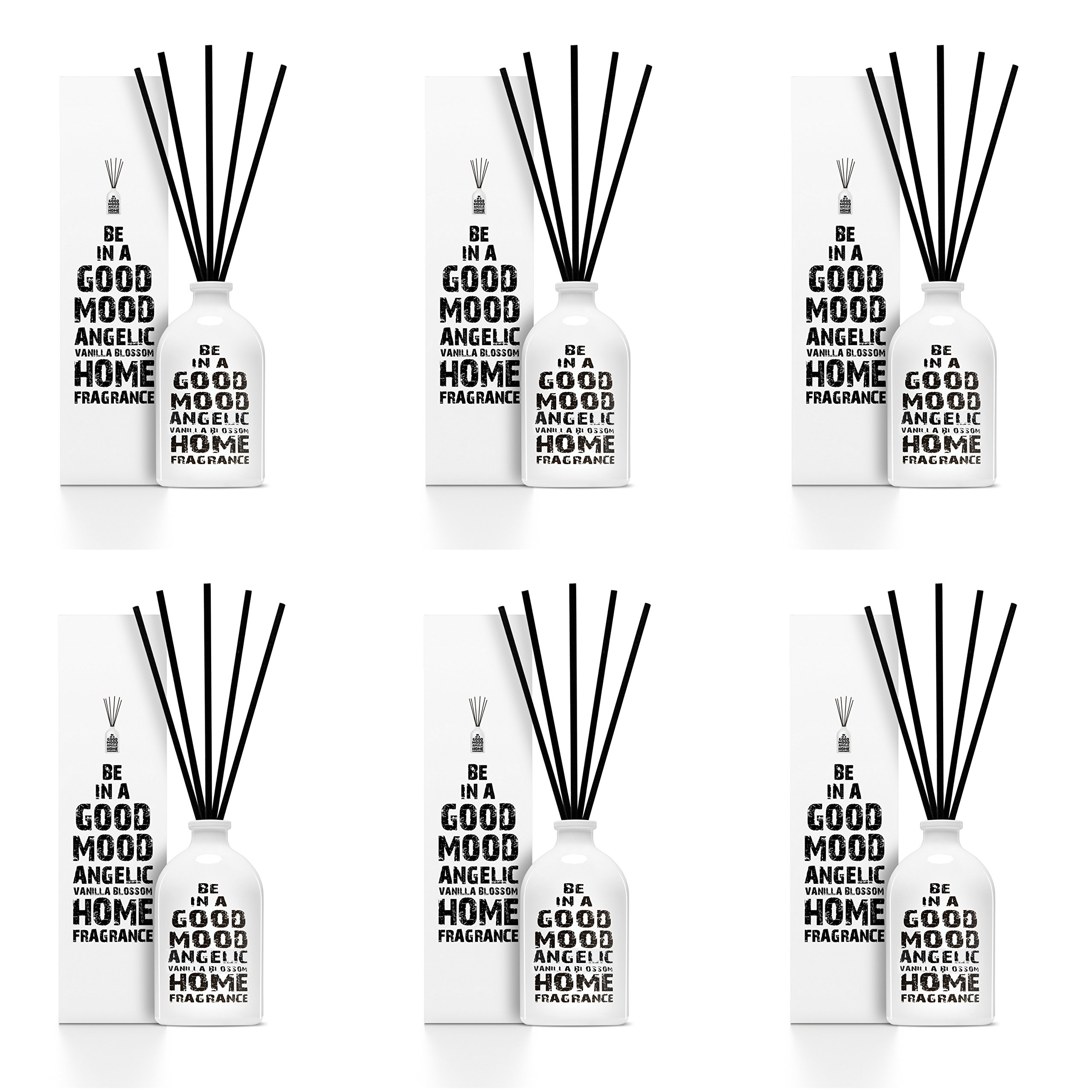 Be in a Good Mood Aromatherapy Diffuser Sticks | Reed Diffuser Set | Aromatic Home Fragrance Set | Essential Oil Diffuser Sticks, Made of Natural Scented Oils Blend - 6 Pack (Vanilla Blossom) by Be in a Good Mood