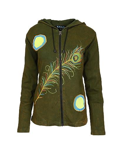 Las señoras de la chaqueta de algodón multicolor con capucha, bolsillos laterales y faufederentwurf.