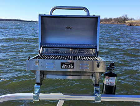 Smoke Hollow Grill Modified for 1.25 Railing on Pontoon Boats w Arnall s Stainless Grill Brackets.