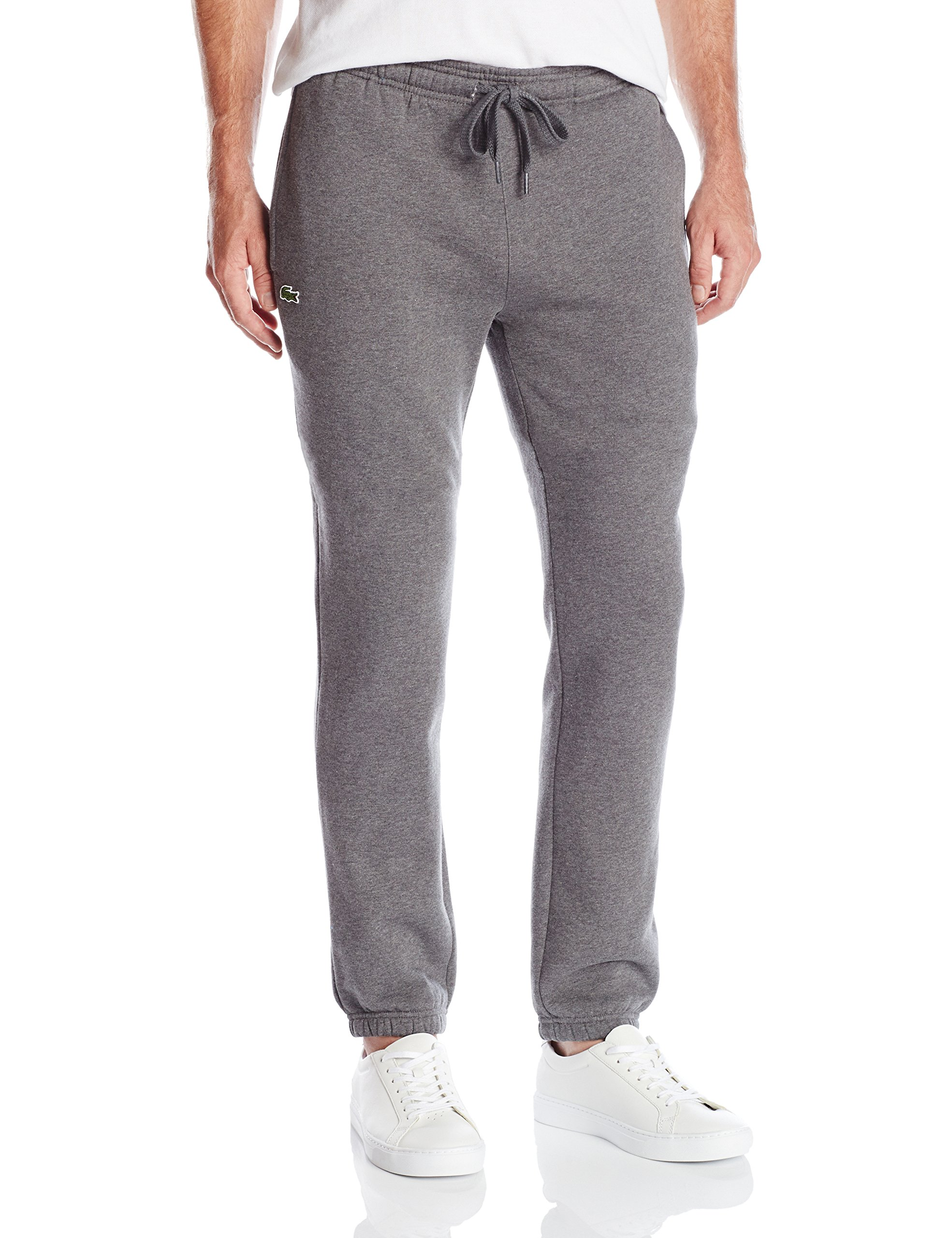 Lacoste Men's Tennis Training Sport Fleece Pant with Elastic Leg Opening, Pitch Gray, 9