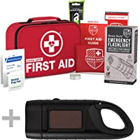 Bundle & Save: Rechargeable Solar Hand Crank Flashlight with First Aid Kit (120-Piece)