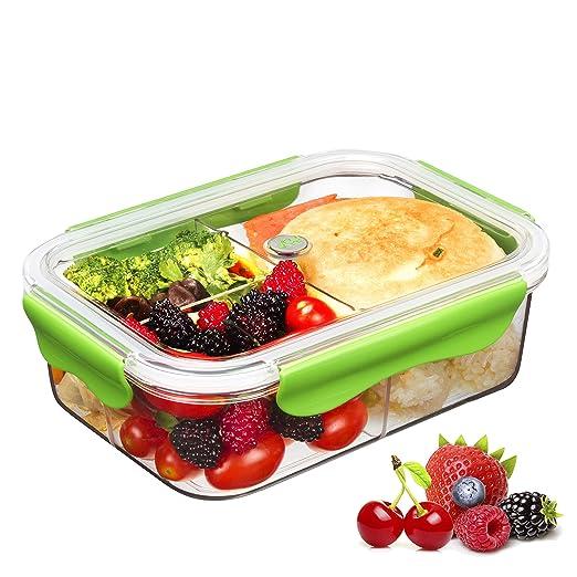 Tritan Plastico Contenedor Alimentos Hermetico,Recipientes Comida Microondas,Fiambreras Bento con 3-compartimentos,100% sin BPA,Caja Fuerte para ...