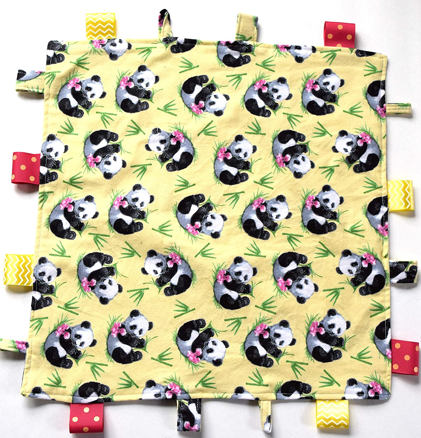 Mini Blanket,Soft Yellow Flannel,Pink Flowers Green Bamboo Panda Baby Comfy Blanket
