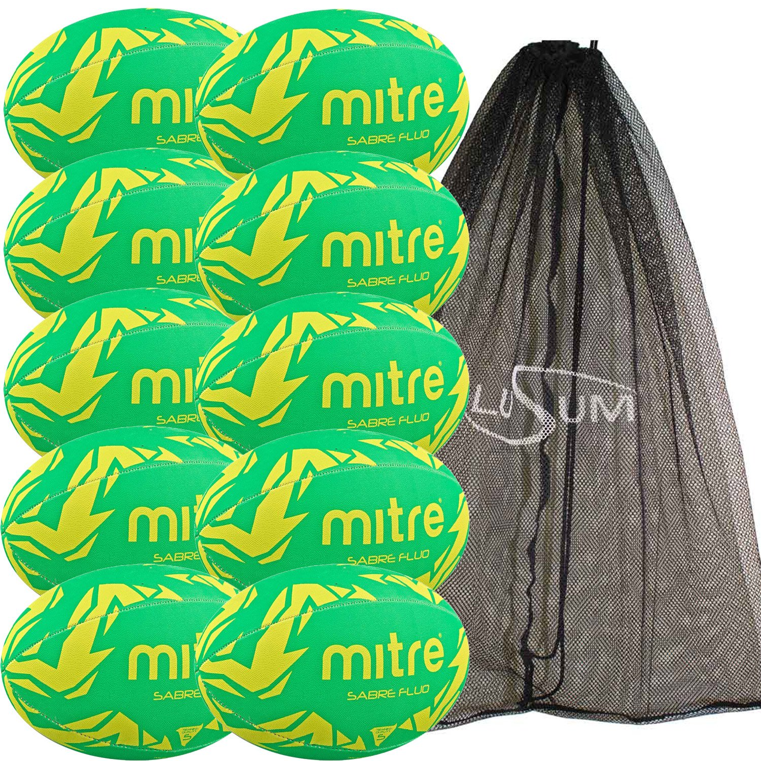 10 x Mitre Sabre Training Rugby Balls plus a Lusum Mesh Bag Size 5) Big Game Hunters