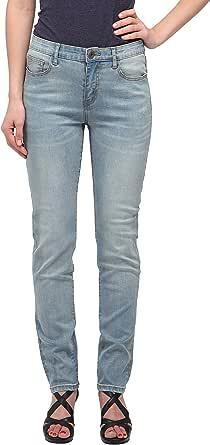 Women's Light Blue Mid-Rise Straight Jeans (Souci)