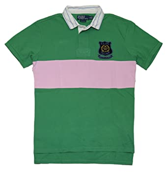 Ralph Lauren Polo Mens Custom Fit Pullover Mesh Rugby Shirt Green