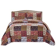 SLPR Red Riches 2-Piece Lightweight Printed Quilt Set (Twin) | with 1 Sham Pre-Washed All-Season Machine Washable Bedspread Coverlet