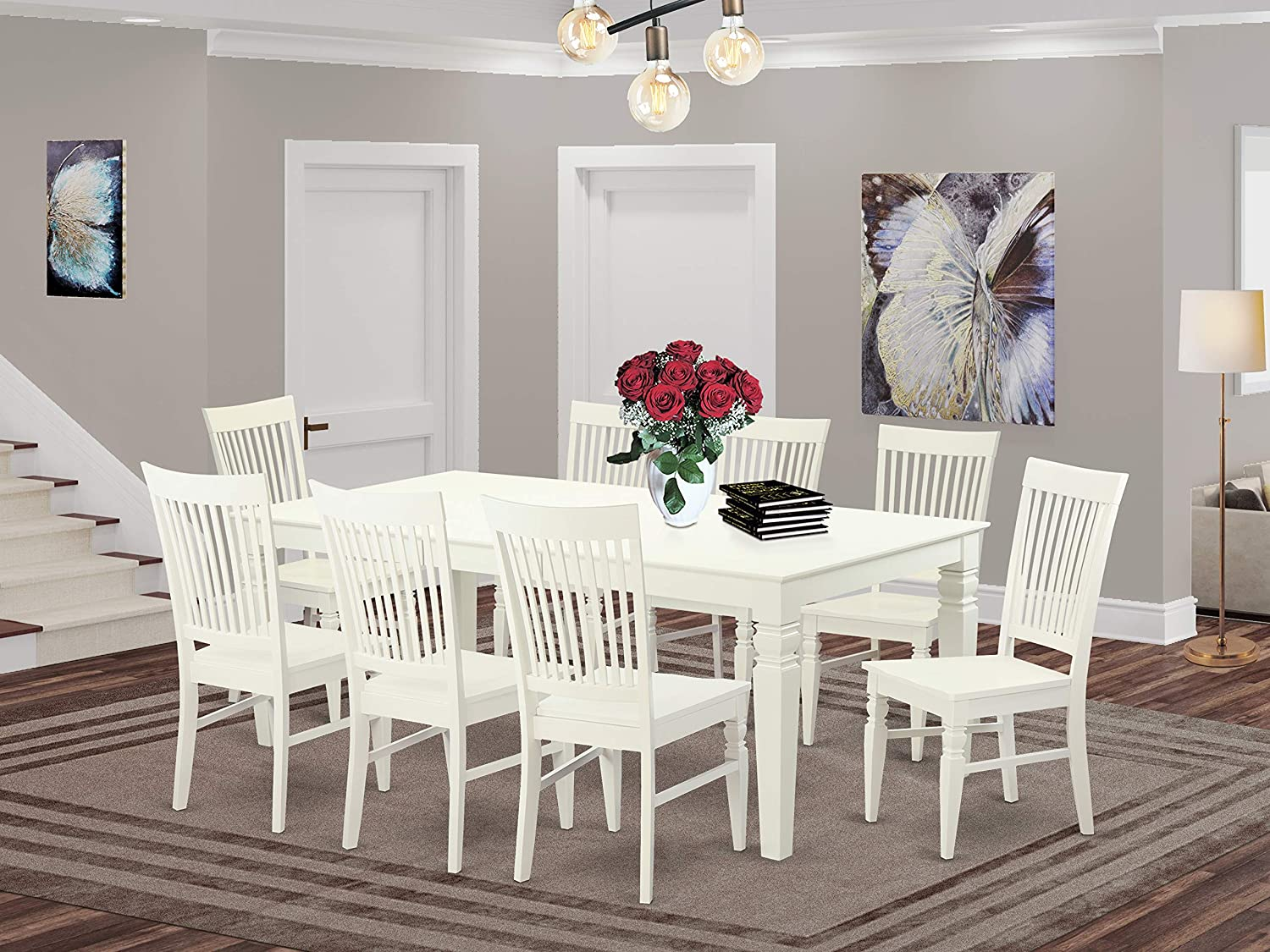 Amazon Com 9 Pctable Set With A Dining Table And 8 Dining Chairs In Linen White Table Chair Sets