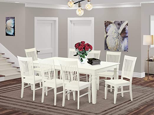 Amazon Com 9 Pctable Set With A Dining Table And 8 Dining Chairs In Linen White Furniture Decor