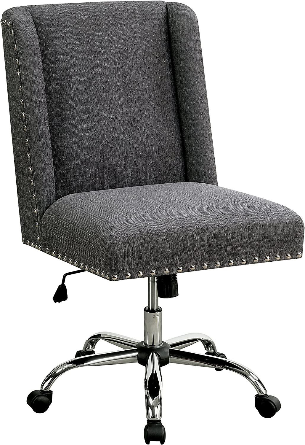 HOMES Inside Out Bronzite Wingback Office Chair, Gray