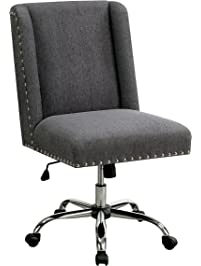 Attirant HOMES: Inside + Out IDF FC642GY Bronzite Wingback Office Chair, Gray