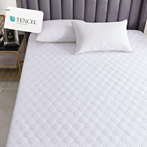Hometitute Luxury Natual Tencel Quilted Mattress Pad - Breathable Silky Cotton Tencel Cover Stays Cool (King)