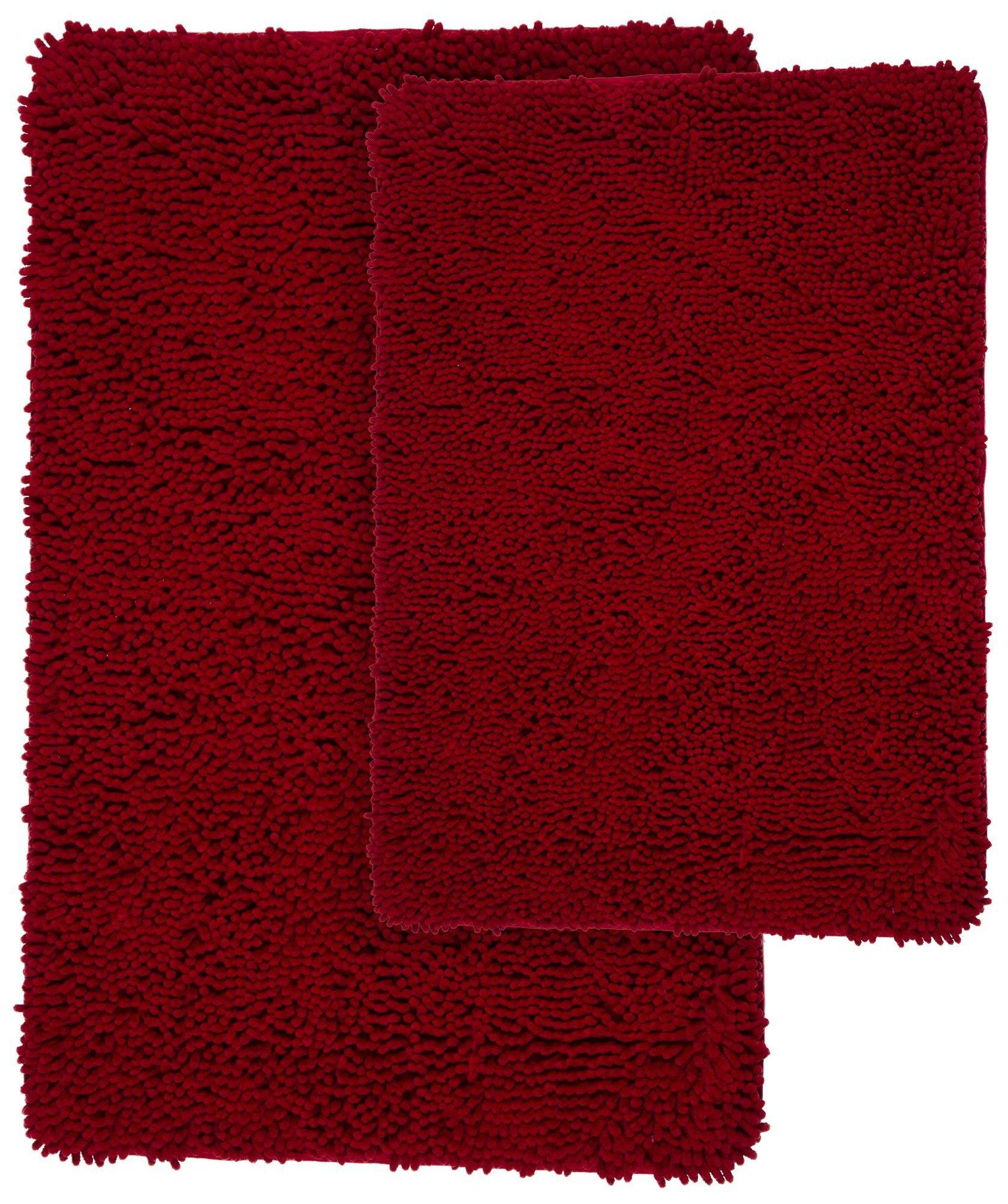 Lavish Home 2 Piece Memory Foam Shag Bath Mat Set - Burgundy