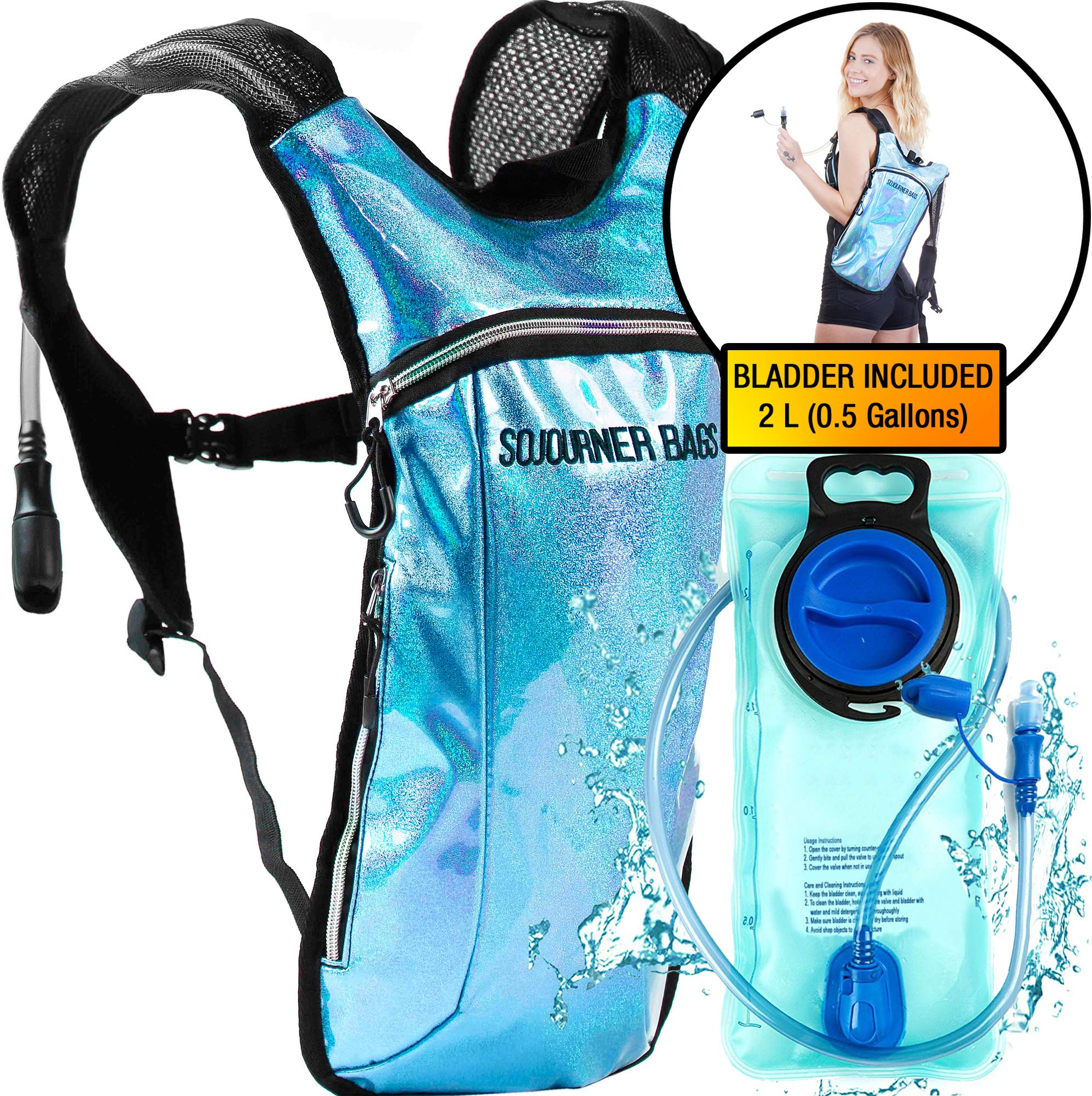 Sojourner Hydration Pack Backpack - 2L Water Bladder Included for Festivals, Raves, Hiking, Biking, Climbing, Running and More (Glitter - Light Blue) by SoJourner Bags