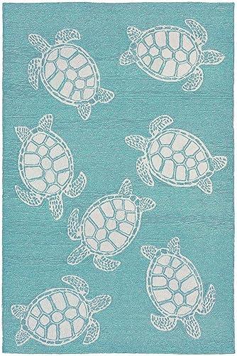 Liora Manne Capri Coastal Turtle Aqua Indoor/Outdoor Rug